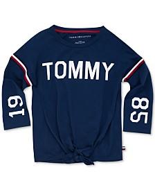 Tommy Hilfiger Big Girls Logo-Print Tie-Front T-Shirt
