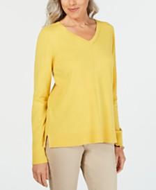 Karen Scott V-Neck Pullover Sweater, Created for Macy's