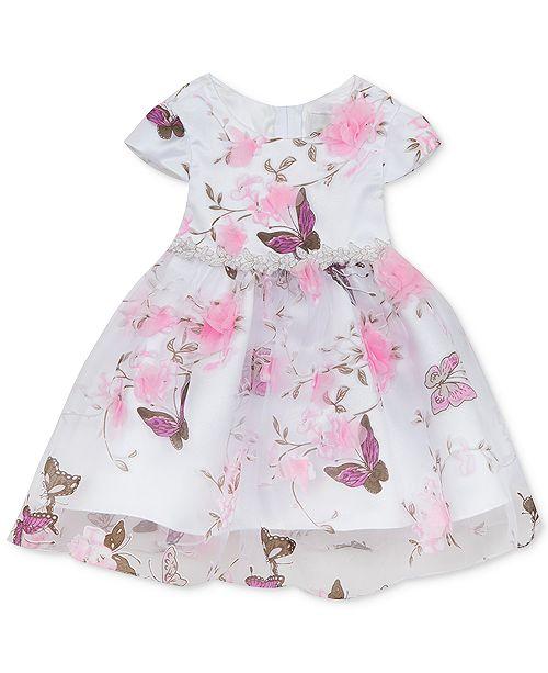 Rare Editions Baby Girls Printed Organza Dress