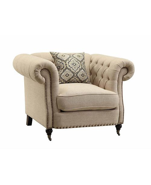 Coaster Home Furnishings Trivellato Upholstered Chair with Large Rolled Arms
