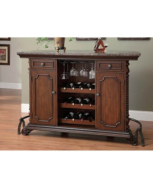 Coaster Home Furnishings 2-Drawer Bar Unit with Marble Top