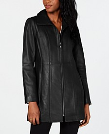 Petite Zip-Front Leather Jacket