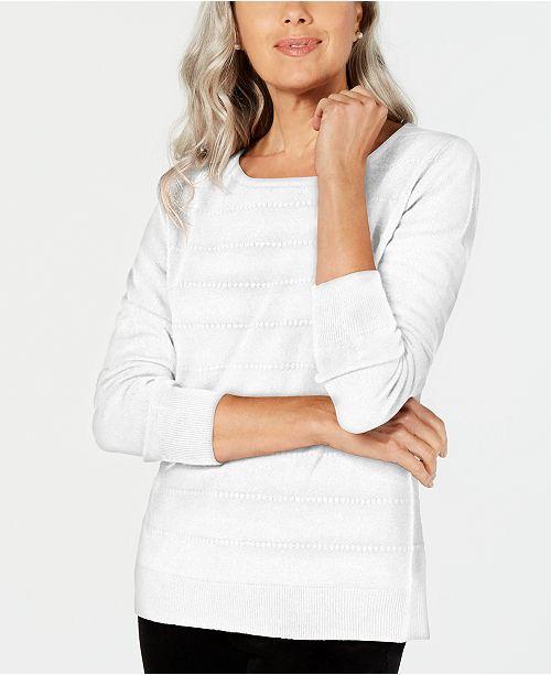Karen Scott Petite Ottoman-Stitch Sweater, Created for Macy's