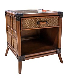 Palm Cove 1 Drawer Nightstand with Glass
