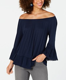 Style & Co Off-The-Shoulder Bell-Sleeve Top, Created for Macy's