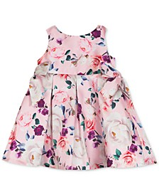 Baby Girls Floral-Print Mikado Dress
