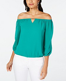Off-The-Shoulder Keyhole Blouse, Created for Macy's