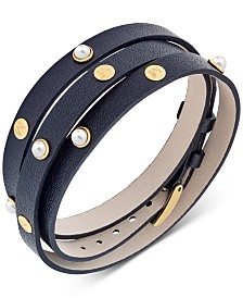 Majorica Stainless Steel Imitation Pearl Leather Wrap Bracelet