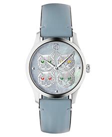 Women's Swiss G-Timeless Pastel Sky Blue Leather Strap Watch 38mm