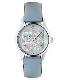 Gucci Women's Swiss G-Timeless Pastel Sky Blue Leather Strap Watch 38mm
