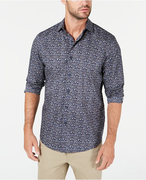 Tasso Elba Men's Stretch Tapestry Print Shirt, Created for Macy's