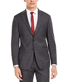 Men's X Slim-Fit Stretch Gray/Burgundy Plaid Suit Separate Jacket