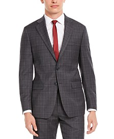 Calvin Klein Men's X Slim-Fit Stretch Gray/Burgundy Plaid Suit Separate Jacket