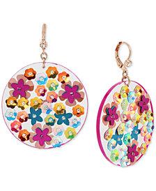 Betsey Johnson Rose Gold-Tone Pavé Flower Disc Drop Earrings