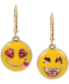 Betsey Johnson Gold-Tone Crystal Smile Emoji Mismatch Drop Earrings