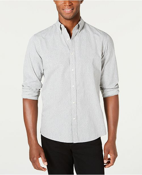 Michael Kors Mens' Slim-Fit Stretch Dot-Print Shirt, Created For Macy's