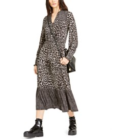Michael Michael Kors Leopard-Print Tiered Dress