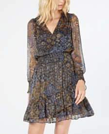 Michael Michael Kors Printed Ruffled Dress, Regular & Petite Sizes