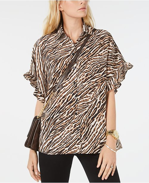 Michael Kors Safari Leopard Print Button-Up Shirt