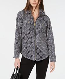 Michael Michael Kors Printed Zippered Blouse, Regular & Petite Sizes