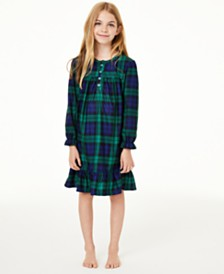 Matching Family Pajamas Kids Black Watch Plaid Nightgown, Created For Macy's