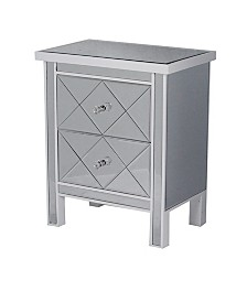 Heather Ann Emmy 2-Drawer Mirrored Tall Accent Cabinet