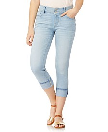 Luscious Curvy Roll Cuff Crop Capri Jeans