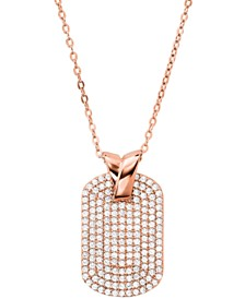 Michael Kors Sterling Silver Custom Kors Pave Pendant Necklace