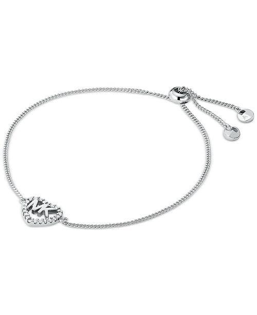Michael Kors Sterling Silver Cubic Zirconia Heart Logo Slider Bracelet