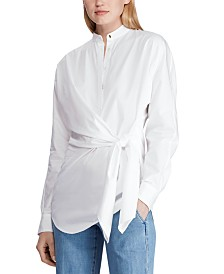 Lauren Ralph Lauren Tie-Waist Long-Sleeve Cotton Shirt