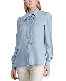 Tie-Neck Long-Sleeve Chambray Shirt