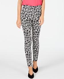 I.N.C. Leopard-Print Jacquard Skinny Pants, Created for Macy's