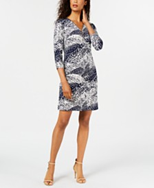 JM Collection Printed Zip-Neck Dress, Created for Macy's