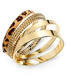 Gold-Tone Animal-Print Bangle Bracelet Set, Created for Macy's