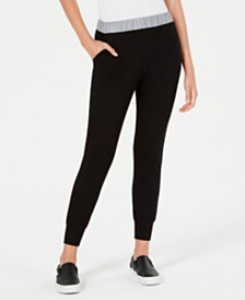 Waisted Reflective-Contrast Jogger Pants