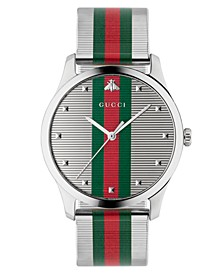 Men's Swiss G-Timeless Multicolor Stripe Stainless Steel Mesh Bracelet Watch 42mm