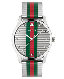 Gucci Men's Swiss G-Timeless Multicolor Stripe Stainless Steel Mesh Bracelet Watch 42mm
