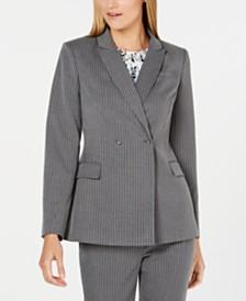 Calvin Klein Pinstriped Double-Breasted Blazer
