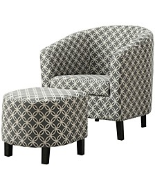 2 Piece Set Linen Accent Chair With Ottoman