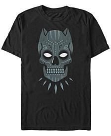 Men's Black Panther Sugar Skull Big Face Mask Short Sleeve T-Shirt