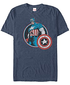 Men's Comic Collection Retro Captain America Smiling Short Sleeve T-Shirt