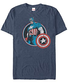 Marvel Men's Comic Collection Retro Captain America Smiling Short Sleeve T-Shirt