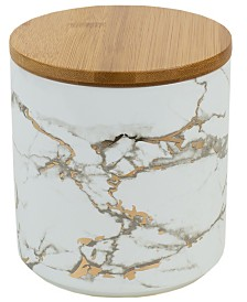 HDS Trading Marble Ceramic Medium Canister with Bamboo Lid