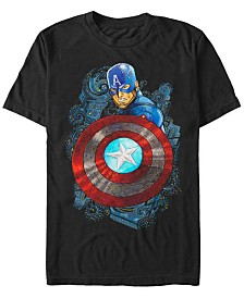 Marvel Men's Comic Collection Starry Night Style Captain Short Sleeve T-Shirt