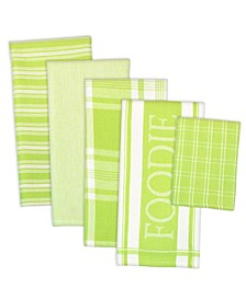 Assorted Foodie Dishtowel and Dishcloth, Set of 5
