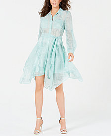 GUESS Snakeskin-Print Belted Dress