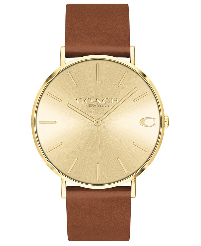 COACH - Men's Charles Saddle Leather Strap Watch 41mm