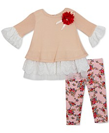 Baby Girls 2-Pc. Lace-Trim Sweater & Floral-Print Pants Set