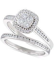 Diamond Cluster Halo Bridal Set (1/2 ct. t.w.) in 14k White Gold