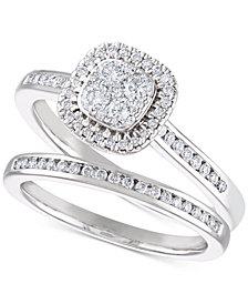 Diamond Cluster Halo Bridal Set (1/2 ct. t.w.) in 14k White Gold